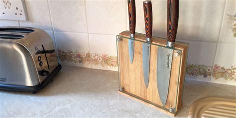 glass magnetic knife block bamboo knife holder