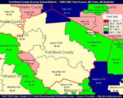 map of fort bend county school districts by taks 2003 scores
