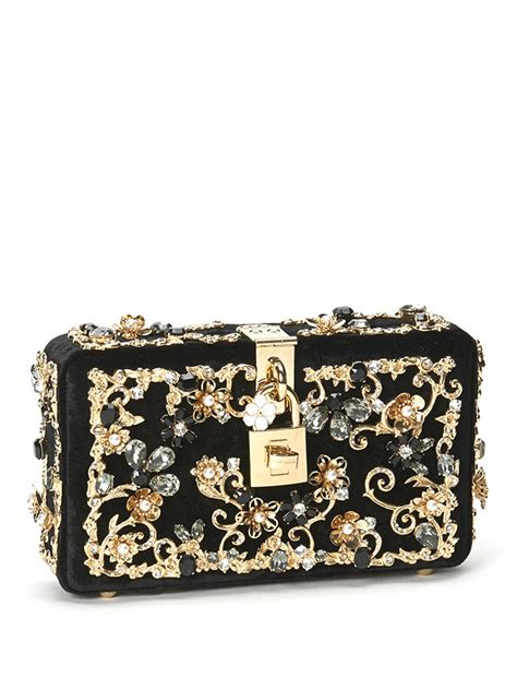 Dg Dolce And Gabbana Patent Clutch by Lyst Dolce Gabbana Embellished Velvet Clutch In Black