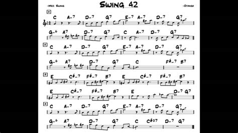swing 42 sheet swing 42 play along backing track c key score violin