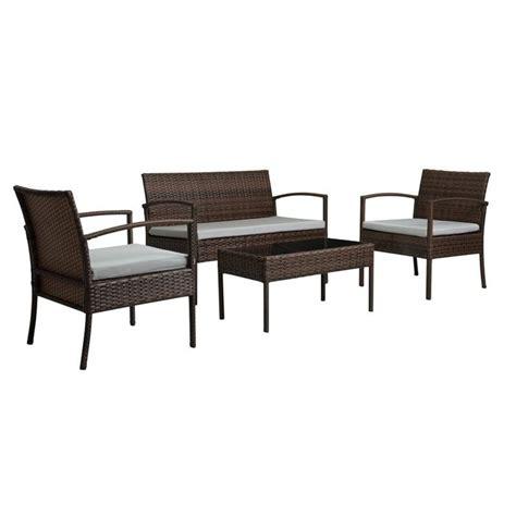 Hom Patio Furniture Thy Hom Teaset 4 All Weathyr Patio Conversation Set In Gray Blm0311dblg