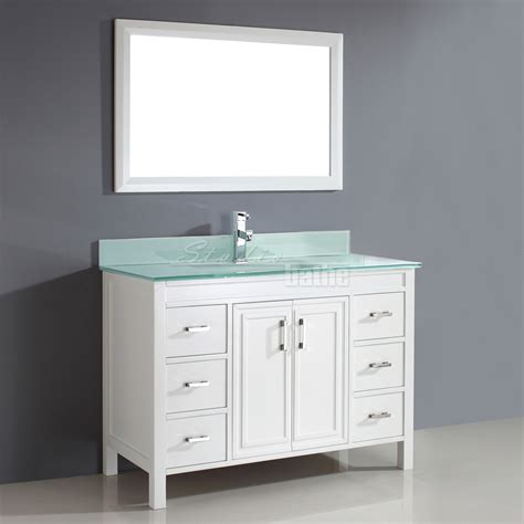 Studio Bathe Corniche 48 Inch Bathroom Vanity White Finish Bathroom Vanity 48 Inch
