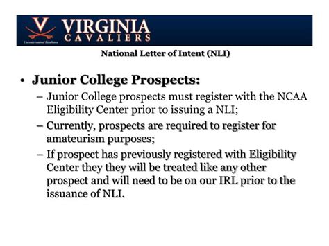 Junior College Letter Of Intent Ppt November Coach S Education National Letter Of Intent Nli Of Virginia