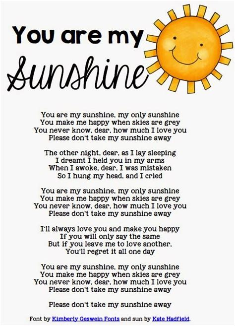 summer c song you are my sunshine with lyrics and 25 best ideas about free song lyrics on pinterest free