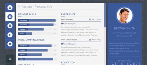14 vcard personal portfolio resume html templates