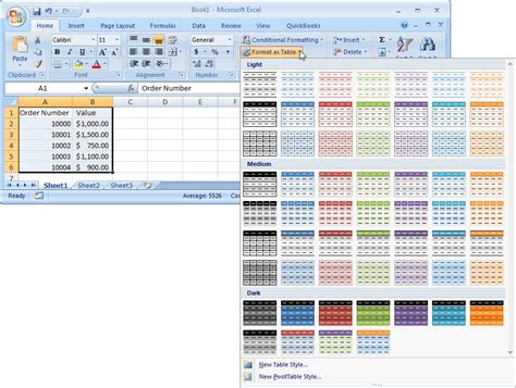 format option in ms excel 2007 ms excel 2007 automatically alternate row colors one
