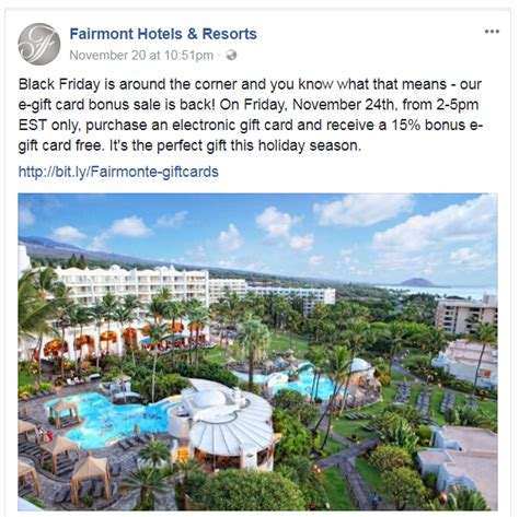 Gift Card Black Friday 2017 - black friday fairmont e gift cards 15 bonus sale november 24 2017 2pm 5pm est