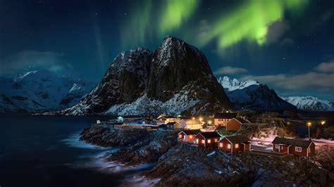 aurora northern lights lofoten norway village  hd nature