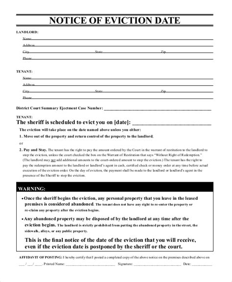 10 Printable Eviction Notice Forms Pdf Google Docs Ms Word Apple Pages Free Premium Eviction Warning Letter Template