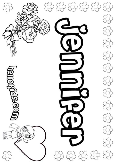 girls name coloring pages jennifer girly name to color