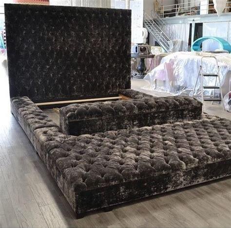 tufted velvet platform bed king extra large wide bed
