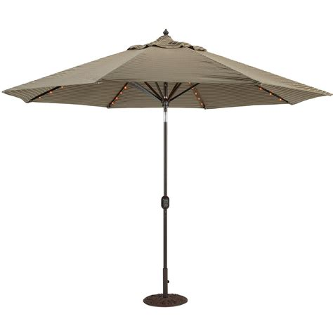 Umbrellas Patio Galtech 11 Ft Aluminum Patio Lighted Umbrella With Crank Lift And Auto Tilt Shopperschoice