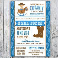 lil cowboy baby shower invitation custom printable
