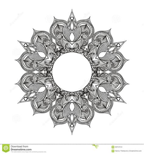 zentangle stylized round indian arabic mandala hand