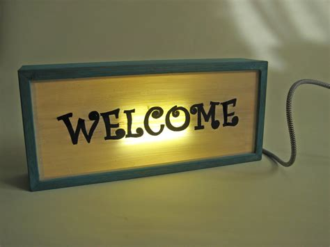 led light box sign hand painted signs welcome in vintage wooden light box