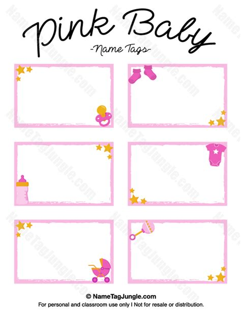 baby shower place cards template printable pink baby name tags