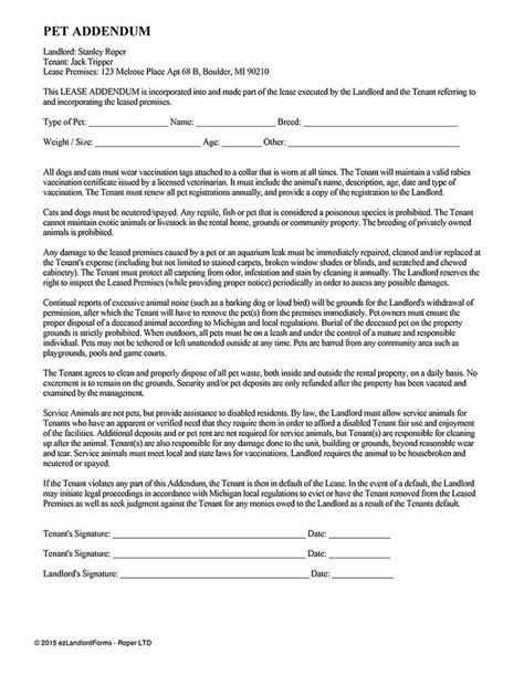 Pet Addendum Ez Landlord Forms Pet Agreement Template