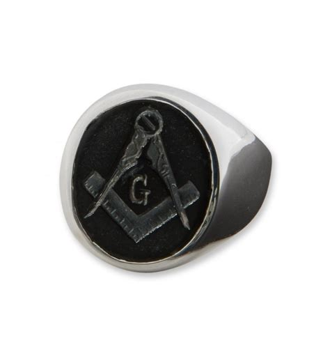 black onyx masonic intaglio sterling silver ring regnas