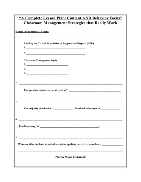 individual behaviour management plan template a complete lesson plan behavior and content focus