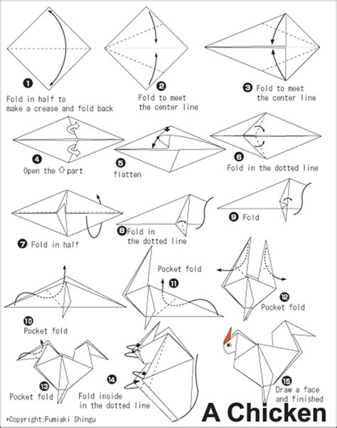 Origami Chicken Easy - chicken easy origami for