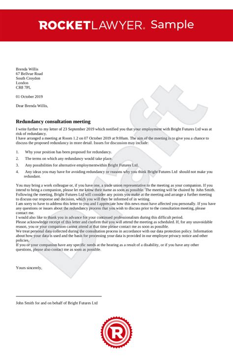 redundancy consultation letter uk template