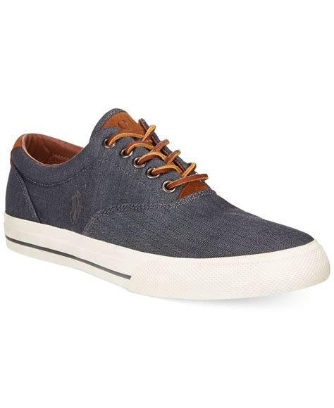 polo ralph mens sneakers polo ralph vaughn chambray herringbone sneakers in