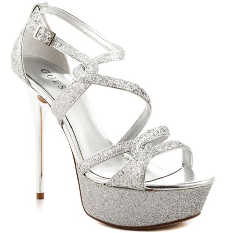 silver sandal heels duriany silver texture guess 109 99 free shipping