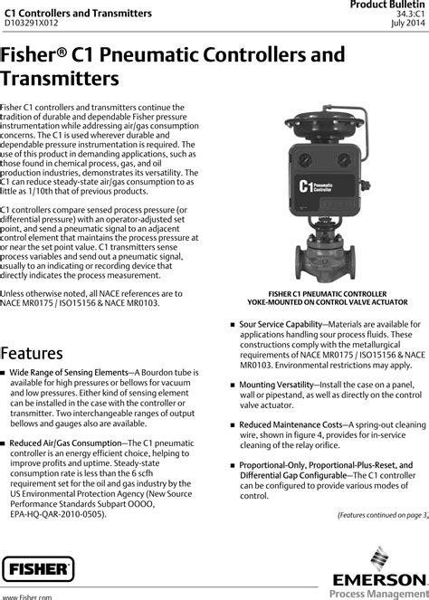 Emerson Fisher C1 Data Sheet D103291x012 Jul14 Aq