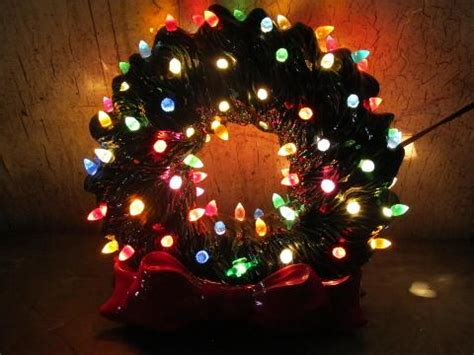 hard to find electric light up ceramic christmas wreath
