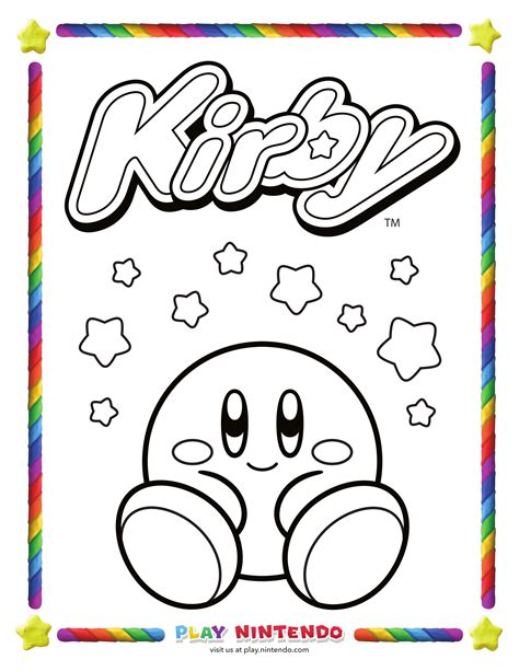 kirby coloring pages kirby coloring page 25th anniversary 5 my nintendo news