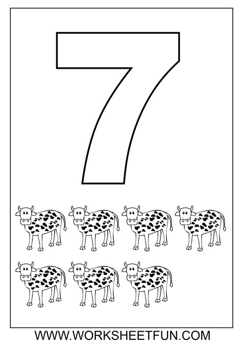 Number 7 Coloring Pages For Preschoolers by Number Coloring Pages 1 10 Worksheets Free Printable