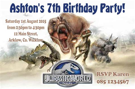 printable jurassic world birthday invitations personalised jurassic world invitations