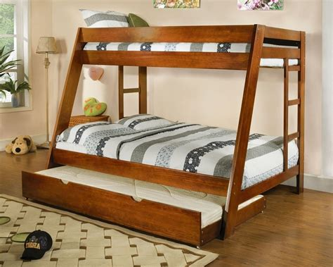 Twin Over Full Bunk Bed Solid Wood Arizona Oak Finish Trundle