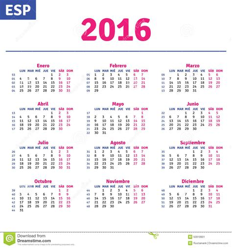 Printable Calendar 2016 Spain | 2016 printable calendar in spanish calendar template 2016