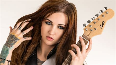 girl wallpaper qhd brown hair girl guitar wallpaper 2560x1440 qhd