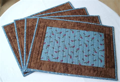 Quilted Table Mats by Quilted Placemats Blue Fabric Table Mats Floral Place Mats