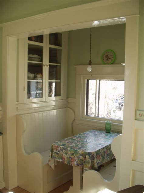 An original 1920's kitchen nook   complete with pendant
