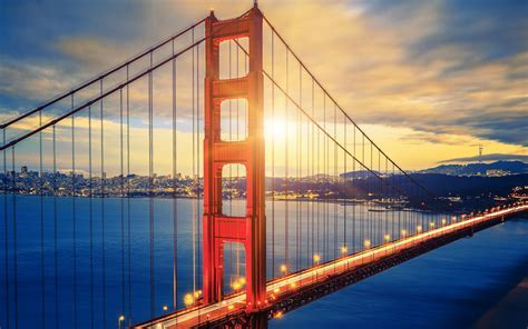 Wallpaper Golden Gate Bridge, Sunset, HD, World, #2492