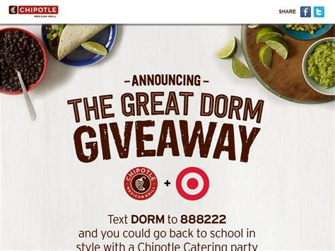Chipotle Sweepstakes - chipotle great dorm giveaway sweepstakes sweepstakes