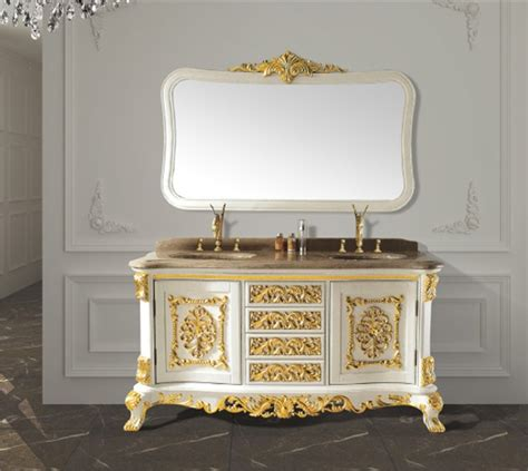 White Solid Wood Antique Bathroom Cabinet With Mirror And Classic Bathroom Furniture