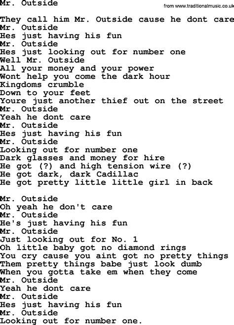 lyrics bruce springsteen bruce springsteen song mr outside lyrics