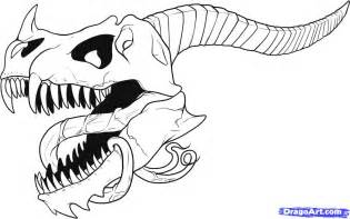 Cool Easy Drawings Of Dragon Skulls Sketch Coloring Page sketch template