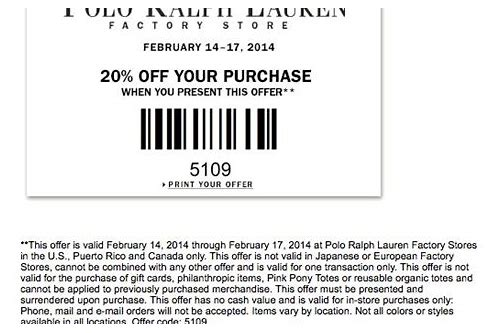 ralph lauren outlet coupon code 25 off