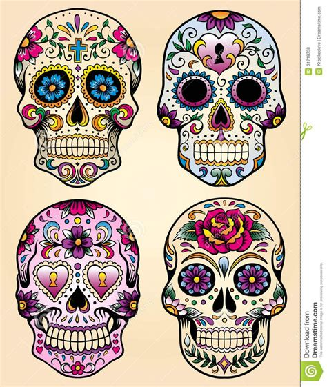 mexican skull tattoo designs day of the dead vector illustration set from
