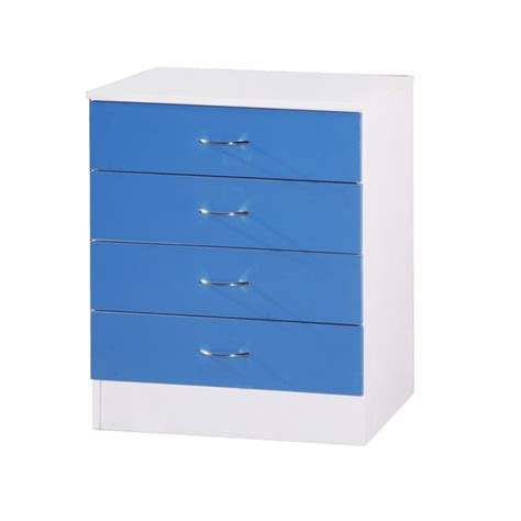 Alpha Drawers by Alpha Blue Gloss White Chest Of 4 Drawers Ark Furniture