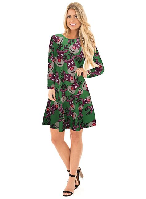 fashion round neck long sleeve christmas printed dress