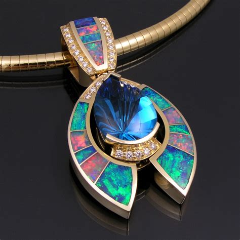 australian opal pendant with topaz and accents