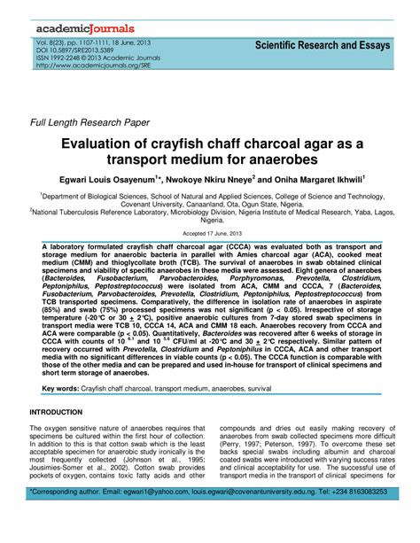 Scientific Research And Essays by Scientific Research And Essays Evaluation Of Crayfish Chaff Charcoal Agar As A Transport Medium