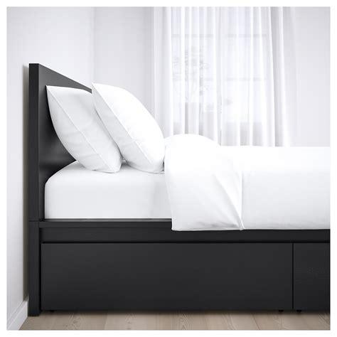 lit malm 160 malm cadre de lit haut 2 rangements brun noir 160 x 200