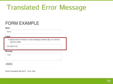 zf2 default layout error reporting in zf2 form messages custom error pages